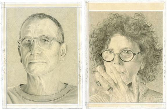 Left: Robert Feintuch, Right: Rona Pondick. Pencil on paper by Phong Bui.