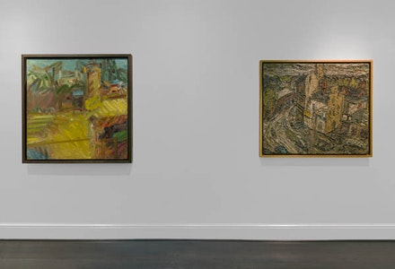 London Painters installation view, including, left to right, Frank Auerbach, <em>The Pillar Box III</em>, 2010-2011 and  Leon Kossoff, <em>Stormy Summer Day, Dalston Lane</em>, 1975. Photo: Maris Hutchinson