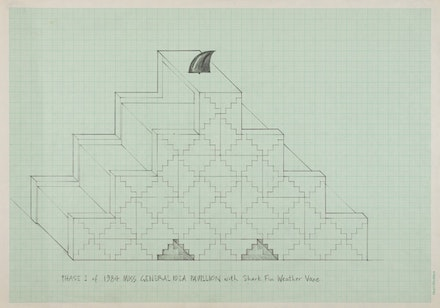 General Idea, <em>Phase 1 of the 1984 Miss General Idea Pavillion with Shark Fin Weather Vane</em>, 1975, Graphite on graph paper, 29.7 x 42 cm, Courtesy Mitchell-Innes and Nash.  © General Idea.