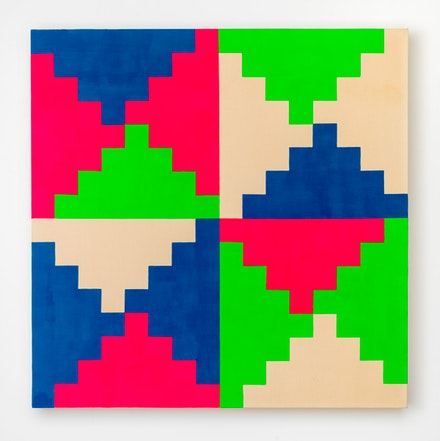 General Idea, <em>1968 General Idea #1</em>, 1986, Fluorescent acrylic, acrylic, latex on unprimed canvas, 63 by 63 by 4 in. 160 by 160 by 10.2 cm. Courtesy of Mitchell-Innes and Nash.  © General Idea.
