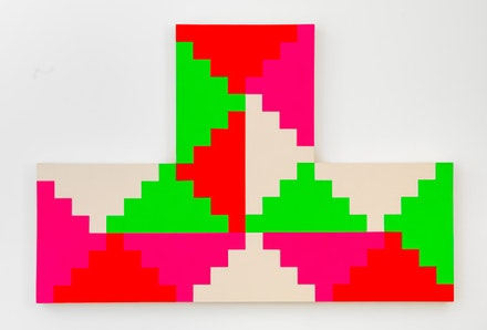 General Idea, <em>1968 General Idea Shaped Ziggurat Painting #2</em>, 1986, Fluorescent acrylic, acrylic, latex on unprimed canvas, 62 3/4 by 94 3/8 by 4 in. 159.4 by 239.7 by 10.2 cm. Courtesy of Mitchell-Innes and Nash.  © General Idea.