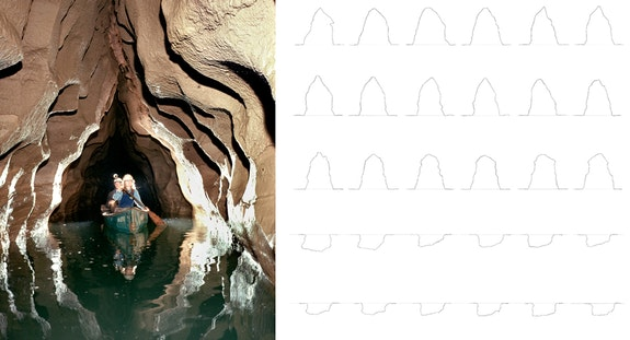 <em>Above and Below</em> drawings and cave photo. Courtesy the artist.