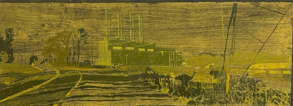 Greg Lindquist, <em>WA Parish Generating Station, Thompsons, TX</em>, 2017, oil, ash, and acrylic on linen. Courtesy the artist.
