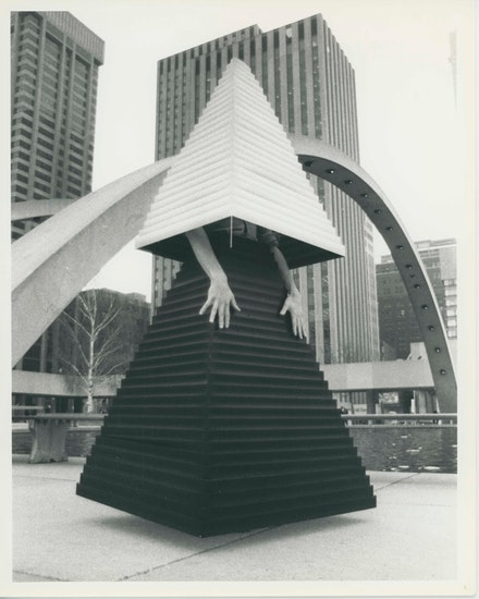 <em>VB Gown from the 1984 Miss General Idea Pageant, Urban Armour for the Future</em> Gelatin silver print. 10 x 8 inches. Courtesy Mitchell-Innes and Nash. ©General Idea.
