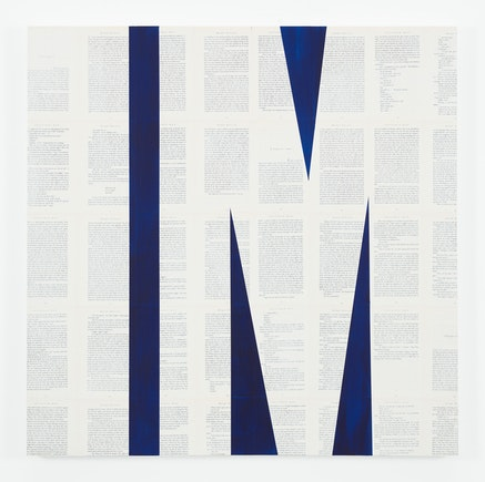 Tim Rollins and K.O.S., <em>Invisible Man (after Ralph Ellison)&#8203;</em>, 2015. Indigo and matte acrylic on book pages on panel, 36 x 36 inches. Courtesy Studio K.O.S. and Lehmann Maupin, New York and Hong Kong.