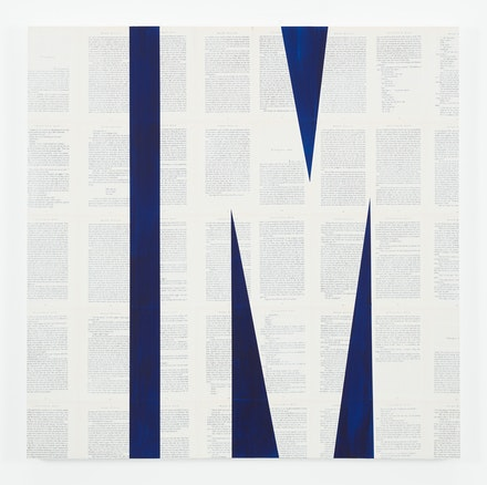 Tim Rollins and K.O.S., <em>Invisible Man (after Ralph Ellison)​</em>, 2015. Indigo and matte acrylic on book pages on panel, 36 x 36 inches. Courtesy Studio K.O.S. and Lehmann Maupin, New York and Hong Kong.