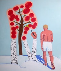"David Humphrey, <em>Strolling</em> 2006 (lost), acrylic on canvas, 72"" x 60"""