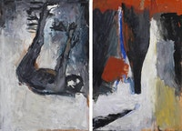 Georg Baselitz, <em>Akt und Flasche (Nude and Bottle)</em>, 1977, Oil, tempera on wood Two parts; each: 98 1/2 x 67 inches, 250 x 170 cm. Courtesy Michael Werner Gallery, New York and London.