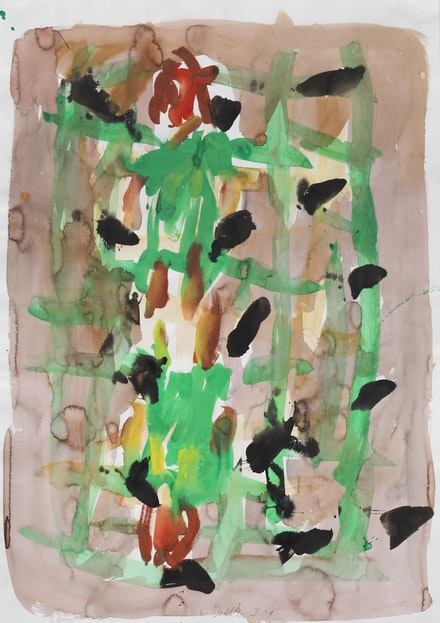 Georg Baselitz, <em>Untitled</em>, 1991, Gouache, pastel, watercolor on paper, 39 1/4 x 27 1/2 inches, 100 x 70 cm. Courtesy Michael Werner Gallery, New York and London.