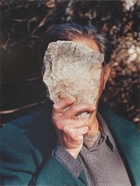Jimme Durham, <em>Self-Portrait Pretending to be a Stone Statue</em>, 2006, Color photograph 31 3/4 x 24 in. (80.7 x 60.9 cm) Collection fluid archives, Karlsruhe, Germany; courtesy of ZKM | Center for Art and Media, Karlsruhe.