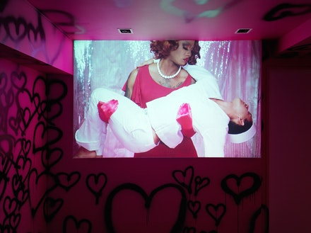 Jen DeNike, <em>The Pimp</em>, 2015, Video, installation view. Courtesy of Franklin Street Works. Photo by Object Studies.