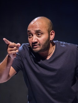 Mushuq Mushtaq Deen in Draw the Circle. Photo: Stan Barouh, courtesy of Mosaic Theater Company of DC, 2017.