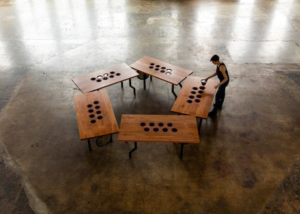 Caroline Woolard, <i>Capitoline Wolves</i>, installation view at the Knockdown Center, New York, 2016-2018, cherry wood, powder coated steel, dyed stoneware, local water, hand mirrored glass, copper bowls, performance, 29