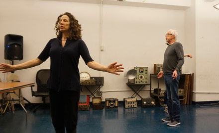 Performers Vicky Finney and Jim Himelsbach rehearsing for Sound House. Photo: Stephanie Fleischmann.