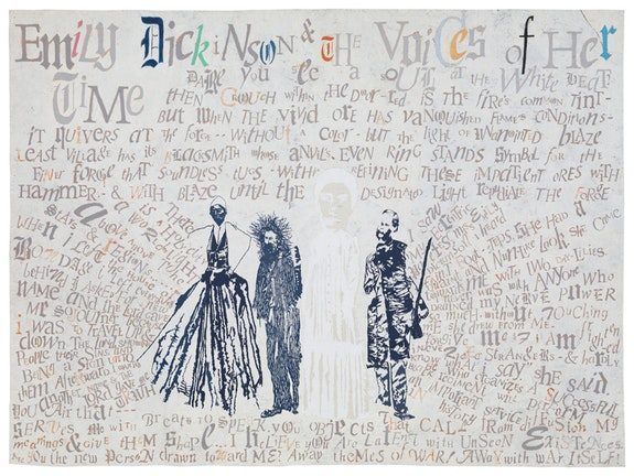 Lesley Dill, <em>Emily Dickinson & The Voices of Her Time</em>, 2016. Pastel, Graphite, Acrylic, and Thread on Paper, 72 inches x 96 inches. Courtesy of the artist.
