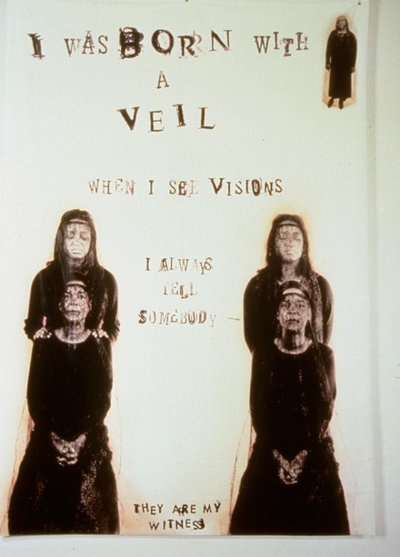 Lesley Dill, <em>I Was Born With a Veil</em>, 2001. Photo Collage, Ink, Thread, Silverleaf on Paper, 14 inches x 11 inches. Courtesy of the artist.