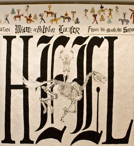 Lesley Dill, <em>Sister Gertrude Morgan: Hell Drawing</em>, 2010. Oil Stick on Tyvek, 102 inches x 120 inches. Courtesy of the artist.