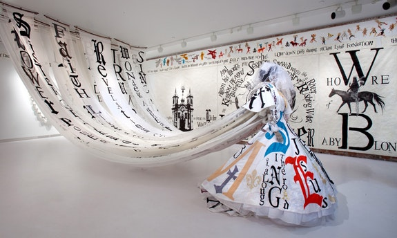 Lesley Dill, <em>Sister Gertrude Morgan: Wedding Dress</em>, 2010. Assorted Fabrics, 74 inches x 72 inches x 72 inches. Courtesy of the artist.