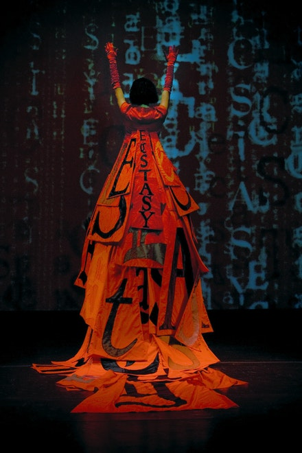 Lesley Dill, <em>Ecstacy Dress</em>, 2008. Divide Light Opera. Courtesy of the artist.