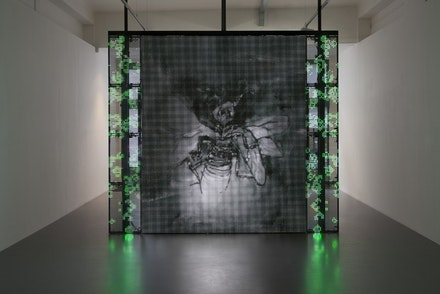 Installation shot from <em>Philippe Parreno, With a Rhythmic Instinction to be Able to Travel Beyond Existing Forces of Life</em>, 2014. Courtesy of Pilar Corrias, London. Photo by Andrea Rossetti.
