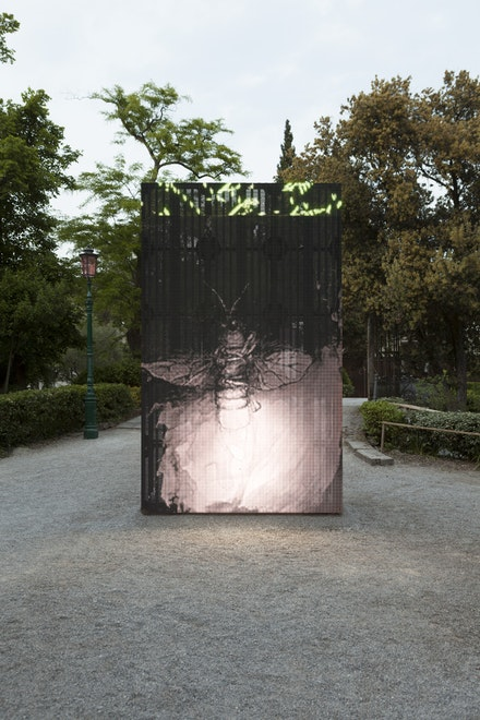 Exhibition view of <em>All the World's Futures</em> at the 56<sup>th</sup> Venice Biennale, 2015. Philippe Parreno, <em>With a Rhythmic Instinction to be Able to Travel Beyond Existing Forces of Life (Green + White)</em>, 2014. Outdoor LED Display, 400 centimeters x 240 centimeters. © Philippe Parreno. Courtesy of Pilar Corrias, London. Photo be Andrea Rossetti.