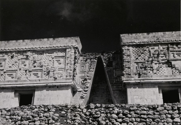 Josef Albers, <em>Governor&rsquo;s Palace, Uxmal</em>, 1952. Gelatin Silver print, image: 11.6 centimeters x 17 centimeters; sheet:12.7 centimeters x 18.1 centimeters. Courtesy of Solomon R. Guggenheim Museum, New York, Gift, The Josef and Anni Albers Foundation, 1996. &copy; 2017 The Josef and Anni Albers Foundation/Artists Rights Society (ARS), New York.