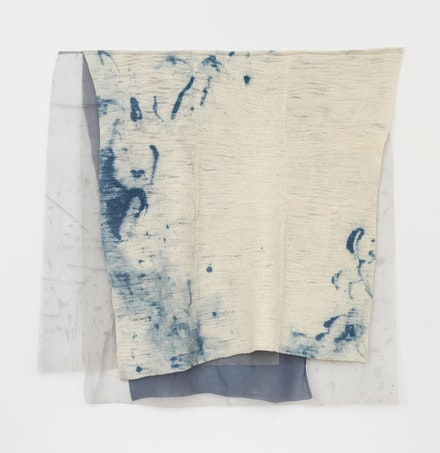Martha Tuttle, <em>Shelter</em>, 2018. Wool, pigment, dye, 53 inches x 52.5 inches. Courtesy the artist and Tilton Gallery.