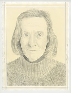 Portrait of Tina Barney, pencil on paper by Phong Bui. Based on a photo by Zack Garlitos.