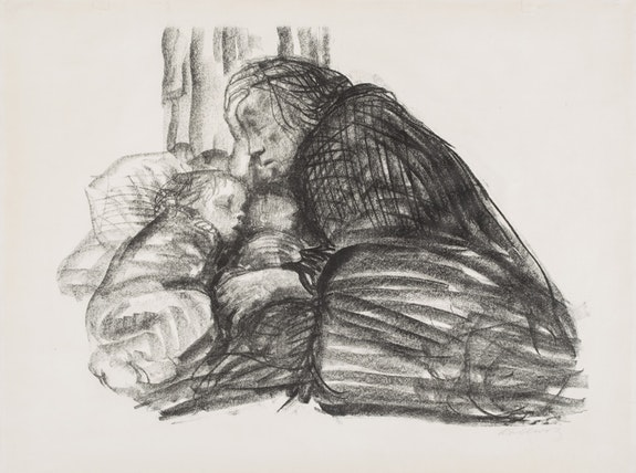 Käthe Kollwitz, <em>Municipal Shelter,</em> 1926. Lithograph on off-white wove paper. Signed, lower right. 16 1/2
