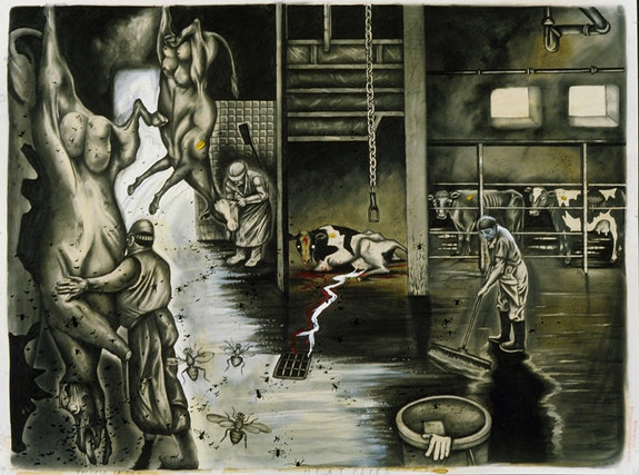 "Sue Cole<em>, Meat Flies</em>, 1991. Graphite, gouache and ink on white Strathmore Bristol board. Signed and dated, lower right, titled, lower center. Inscribed ""Hatfield P.A., July '91,"" lower left and stamped ""From the Slaughterhouse to Our House,"" lower right. 30"