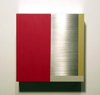 """Stuart Arends, """"A-Square 4"""" (2007). Oil paint on aluminum with clear lacquer. 6 x 6 x 2.5 in. Courtesy of James Kelly Contemporary."""