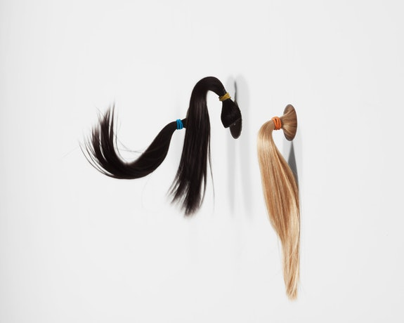 Mika Rottenberg, <em>Ponytail #2, </em>2016 Hair, wood, acrylic tubing, mechanical system, nylon mono filament, ponytail holders, acrylic paint, Dimensions variable, Edition of 3 with 1 AP. Courtesy of the artist and Galerie Laurent Godin, Paris