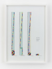<p>Channa Horwitz, <em>Sonakinatography Compostition # 9 0 To the Top diminished</em>, 2011, Casein on mylar 20 x 13 3/4 inches. © Estate of Channa Horwitz. Courtesy Lisson Gallery</p>