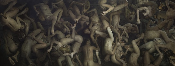 Vincent Desiderio, <em>Theseus</em>, 2016, oil on canvas, 62 x 164 in. ©Vincent Desiderio, courtesy Marlborough Gallery, New York