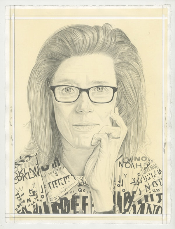 Portrait of Lesley Dill, pencil on paper by Phong Bui. Based on a photo by Zack Garlitos.