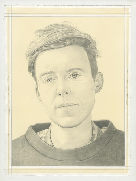 Portrait of Caroline Woolard, pencil on paper by Phong Bui. Based on a photo by Zack Garlitos.