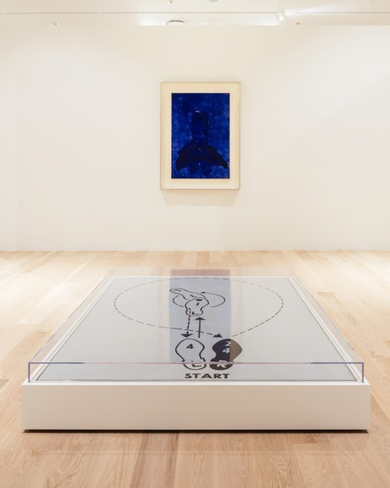 "Yves Klein, <em>Untitled Anthropometry (ANT 31)</em>, 1960. Dry pigment and synthetic resin on paper, mounted on canvas. Collection of Paul and Trudy Cejas. Andy Warhol, <em>Dance Diagram [3] [""The Lindy Tuck-In Turn-Man""]</em>, 1962. Casein on linen. Courtesy The Broad Art Foundation, Los Angeles. Installation view: ""The Everywhere Studio,"" Institute of Contemporary Art, Miami, Dec 1, 2017–Feb 26, 2018. Photo: Fredrik Nilsen Studio."