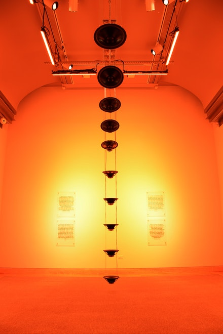 Raven Chacon, <em>Still Life, #3</em>, 2015 (detail). Sound and light installation with text. Voice and translation by Melvatha Chee. Collection of the artist. Photo: Joshua Voda/NMAI