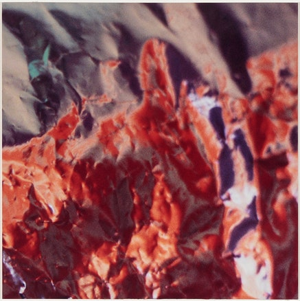 Carol Szymanski, <em>High Noon(re.Di-1)</em>, 2017, 5 x 5 inches, Cibachrome unique print, custom maple frame, white, mounted on plexi, internal floati, courtesy of TOTAH Gallery, New York.