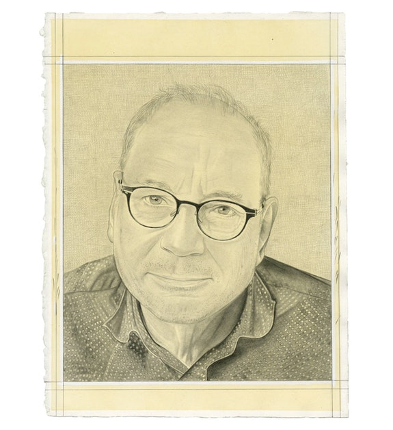 Portrait of Charles Bernstein. Pencil on paper by Phong Bui.