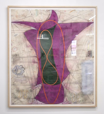 John Newman, <em>Untitled (Deadlock)</em>, 1983. 72 1/2 x 66 1/2 inches. Chalk, oil stick, gouache, pencil on paper. Courtesy Safe Gallery.