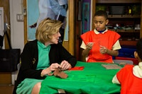 Agnes Gund with Studio In a School student at PS123 in N.Y., photo © Mindy Best