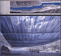 Christo, <em>Over The River (Project For Arkansas River, State Of Colorado)</em>, 2006, drawing in two parts: 15 x 65 and 42 x 65 inches, pencil, charcoal, pastel, wax crayon, enamel paint, aerial photograph with topographic elevation and fabric sample, Reference 26, Private Collection Sweden, Photo: André Grossmann, © Christo.