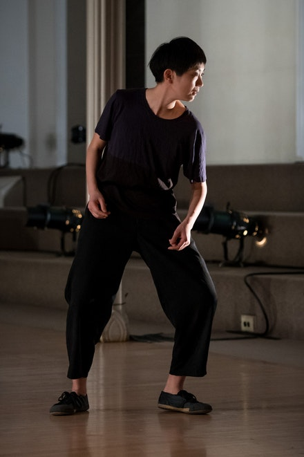 <p>Mina Nishimura in <em>Bladder Inn (and X, Y, Z, W).</em> Credit: Ian Douglas/courtesy Danspace Project</p>