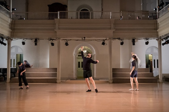 From left: Mina Nishimura, Samuel Hanson, and Lydia Chrisman in <em>Bladder Inn (and X, Y, Z, W). </em>Photo: Ian Douglas/courtesy Danspace Project