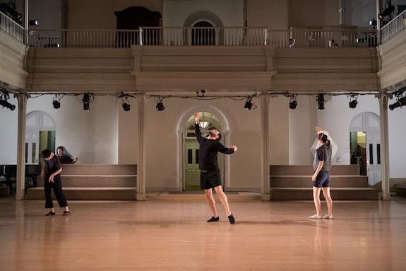 From left: Mina Nishimura, Samuel Hanson, and Lydia Chrisman in <em>Bladder Inn (and X, Y, Z, W).</em>Photo:Ian Douglas/courtesy Danspace Project