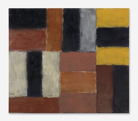 Sean Scully, <em> Wall of Light Orange Red</em>, oil on canvas, (2000). Courtesy Mnuchin Gallery.