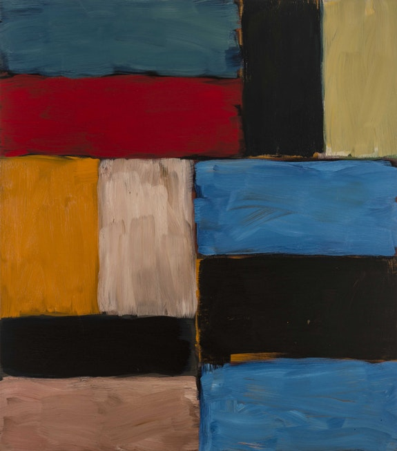 Sean Scully, <em> Wall of Light Red Yellow</em>, oil on canvas, (2012). Courtesy Mnuchin Gallery, New York.
