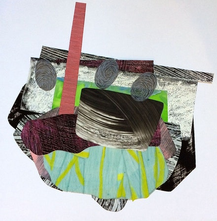 Nanette Carter, <em>Cantilevered #26-Teetering</em>, 2016, oils on Mylar, 17x17 inches. Courtesy of the artist and Skoto Gallery, New York.<script type=