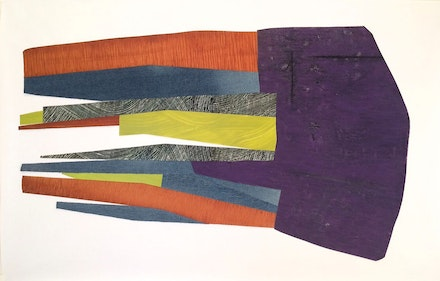 Nanette Carter, <em>With Grace and Aplomb</em>, oil on mylar and jean fabric, 30x43 inches. Courtesy of the artist and Skoto Gallery, New York.